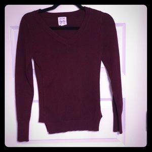 Soft Burgundy V-Neck Sweater (Size XS)